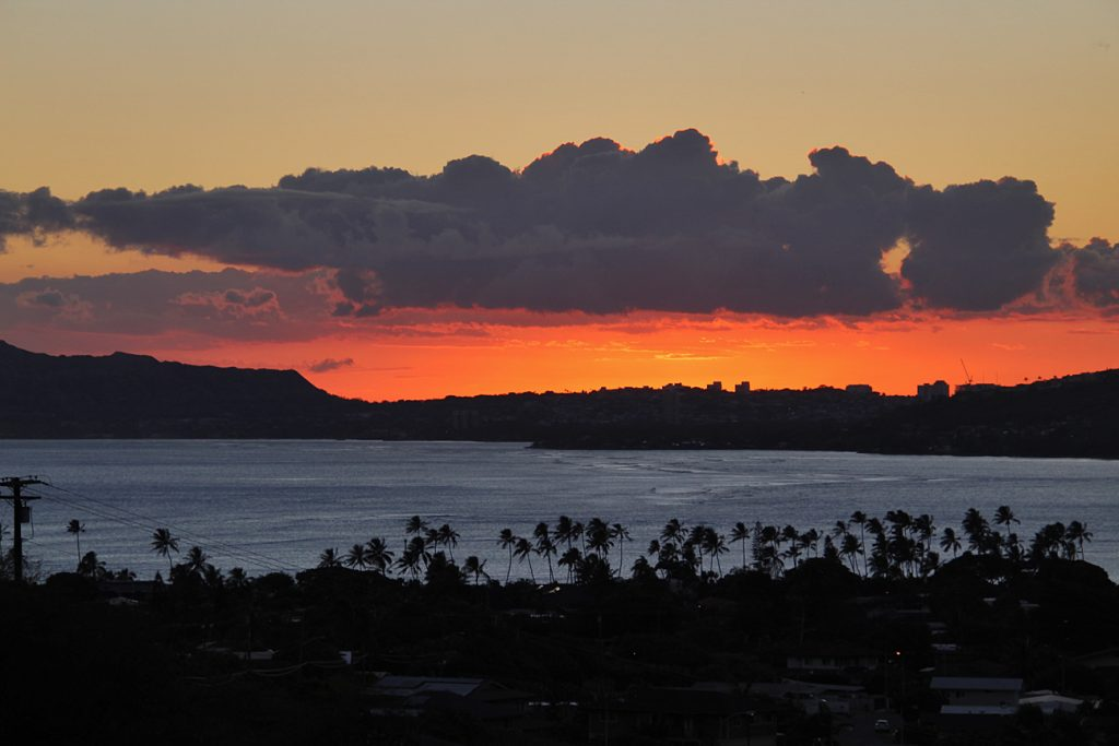 Sunset from the lookout over Hawaii Kai.