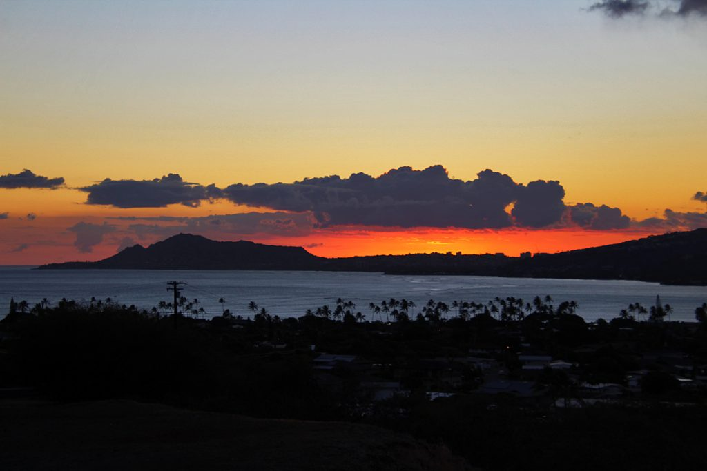 The silhouette of Diamond Head resembles a pregnant lady laying down.